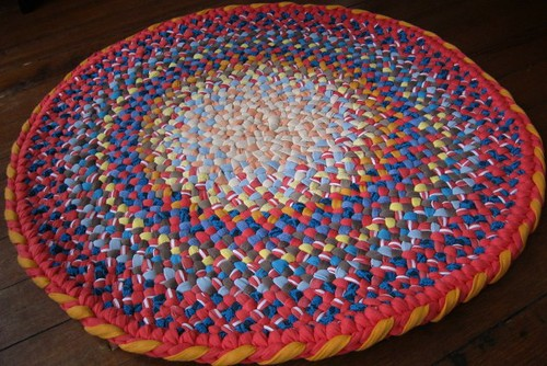 Peach, Iceberg Blue Round Braided Rug from recycled cotton