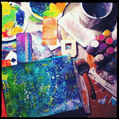 The Painty Mess (Vickie @ In My Head Studios) Tags: ny art paper studio mess paint floor handmade stamps tags rochester ©allrightsreserved brayer inmyheadstudios ©victoriaporterinmyheadstudios donotpin