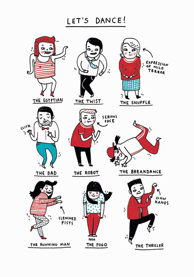 'Let's Dance' card by Gemma Correll