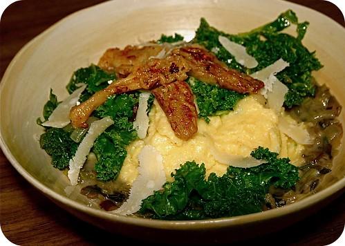 Creamy parmesan grits with mushroom ragut, kale and sauteed morels