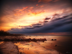 almost may (paul bica) Tags: road trip trees light sunset sky sun mountain ontario news cold beach water car set clouds reflections easter paul evening tv spring still movement highway rocks waves collingwood view shot image wind 26 near weekend horizon georgianbay picture shift scene bluemountains vision shore dex global 2011 skytracker colorphotoaward dexxus saariysqualitypictures magicunicornverybest 20110423bluemountain174 aboveandbeyondlevel1