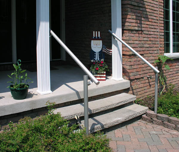 Safety Handrails For Outdoor Steps: Railing Made With Kee Klamp Pipe Fittings