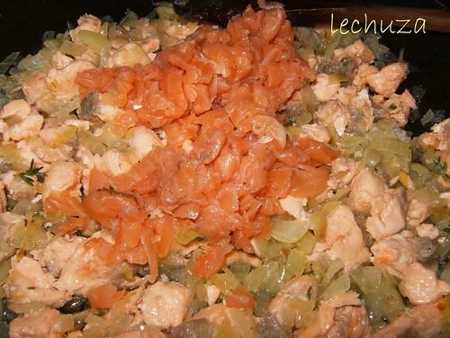 Tarta de salmón-añadir ahumado