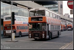 They Cut The Fares, They Cut The Fuss. (Zippy's Revenge) Tags: bus gardens manchester transport piccadilly busstation leyland gmt parkerstreet olympian gmpte greatermanchester 3156 gmbuses northerncounties ncme onlxb1r clippercard c156yba advertisementbus savertickets saversales