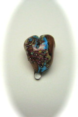 Copper Mesh Turquoise Bead (SimplP) Tags: art glass heart torch copper bead lampwork pendant flamework hotglass borosilicate torchwork coppermesh