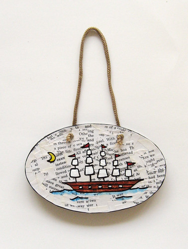 Decoupage ship plaque/wall hanging
