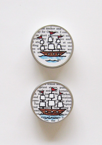 Decoupaged ship tins