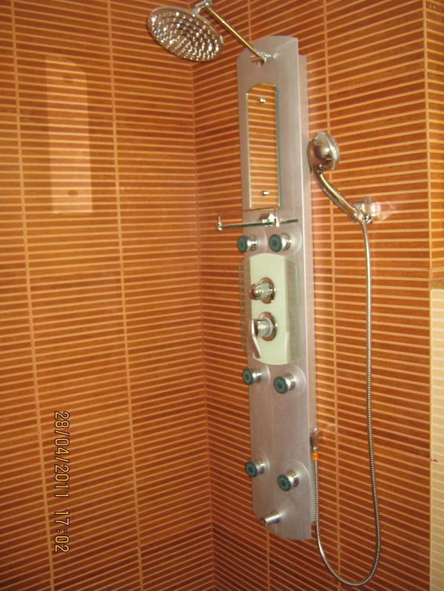 Shower Panel in a toilet at  Sangria Towers at Megapolis Hinjewadi Phase 3, Pune