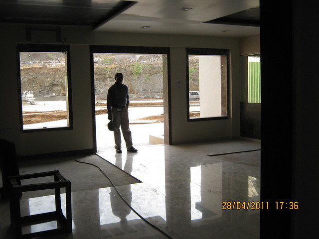 Imported flooring in the entrance lobby of B Tower in Sangria at Megapolis Hinjewadi Phase 3, Pune