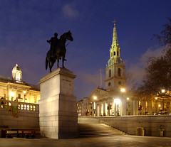 The Statue Of  King George IV and St Martin-in-the-Fields (Beardy Vulcan) Tags: autumn england urban london fall church westminster statue night december nocturnal dusk trafalgarsquare spire 2009 plinth georgeiv stmartininthefields kinggeorgeiv thamesvalley