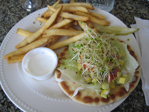 french fries, cucumber sauce, veggie pita