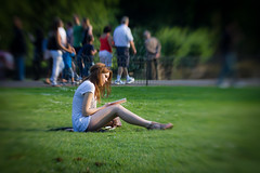 The cute reader in St. James Park (VrOooo) Tags: park red england woman cute green london girl grass saint lensbaby hair reading james europe alone reader femme jardin londres angleterre british jolie lecture parc rousse