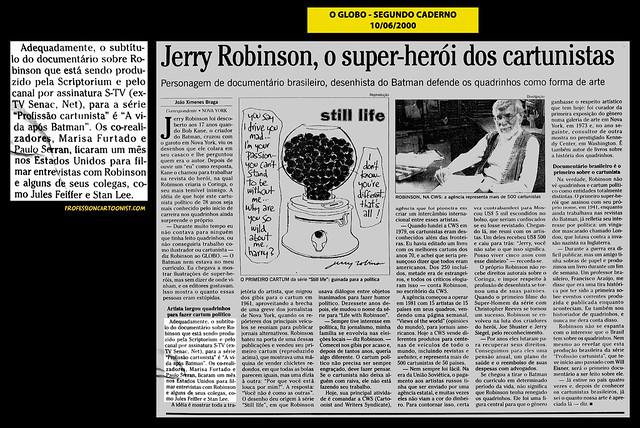 """""""Jerry Robinson, o super-herói dos cartunistas"""" - O Globo - 10/06/2000"""