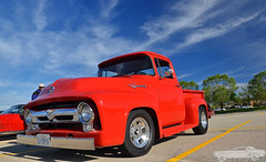 1956 Ford F100 (Chad Horwedel) Tags: red classic ford truck illinois pickup f100 downersgrove fordf100 1956fordf100 cozzicorner