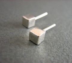 Silver Cubes Earring Studs