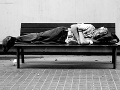 homeless (j.borras) Tags: street people urban blackandwhite bw white black walking photography calle nikon gente homeless bcn coolpix urbano caminando sinhogar p7000 algarrobix