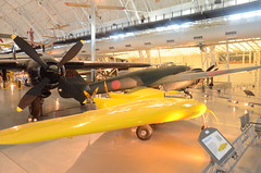 "Steven F. Udvar-Hazy Center: Northrop P-61C Black Widow (wing), with yellow Northrop N-1M Flying Wing and Japanese Nakajima J1N1-S Gekko ""IRVING"""
