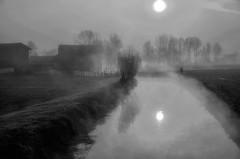 aurora padana (mat56.) Tags: sun water monochrome misty fog sunrise reflections monocromo landscapes alba campagna scenary aurora scenario sole nebbia acqua riflessi paesaggi lombardia canale cremona pianura padana mat56 scannabue mygearandme