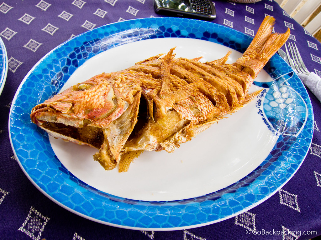 Pargo (red snapper) served on the beach in Taganga, Colombia.