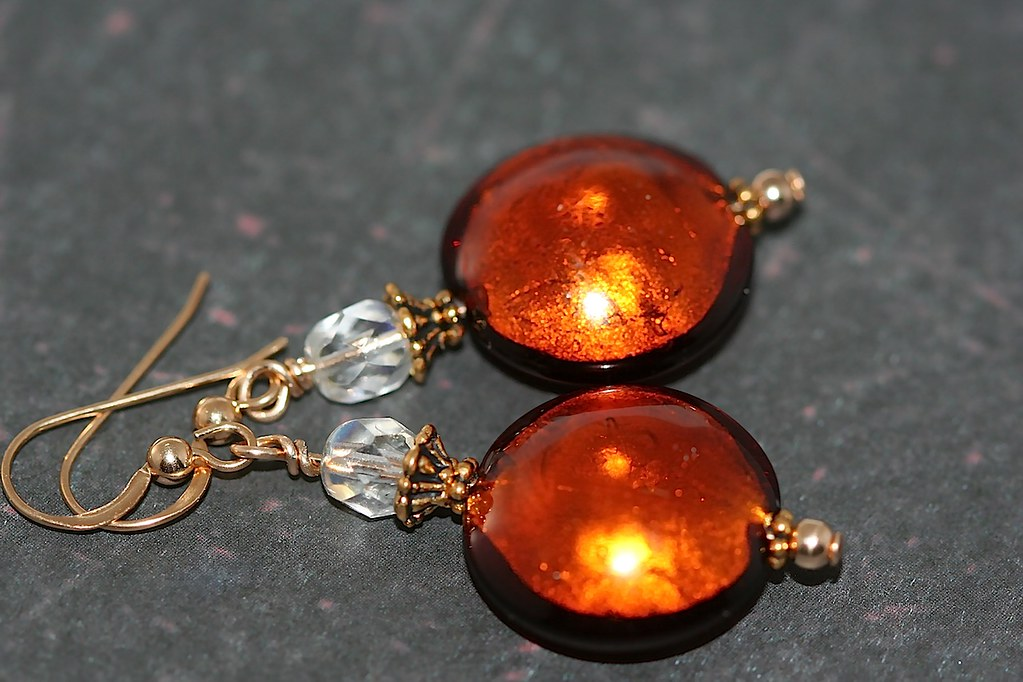 Topaz Lampwork Glass Earrings - Gold Filled