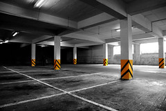 multiposts (docmattk) Tags: colour lines canon post pillar tesco carpark huddersfield banding flickrmeeting selectivecolour 5d2