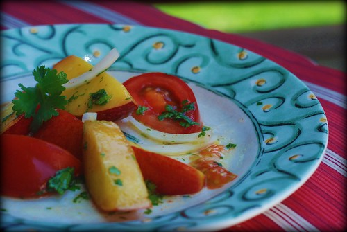 Cilantro Peach Tomato Salad