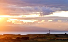Softly the evening came (K. J. Reilly) Tags: sunset sky sun lighthouse water june clouds canon golf landscape eos scotland still warm glow shadows calm links heavenly isleofarran turnberry firthofclyde southayrshire 1100d canonef100mmf28lisusmmacrolens