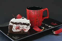 A Piece Of Cake (panga_ua) Tags: red stilllife food black art cup cake composition canon spectacular japanese petals artwork strawberry ceramics dof artistic availablelight ukraine poetic creation tray imagination natalie sketches eastern arrangement tabletop hieroglyphs gettyimages bodegon naturemorte panga artisticphotography rivne naturamorta foodphotography artphotography sharpfocus apieceofcake  nataliepanga