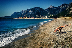 Goals (Melissa Maples) Tags: antalya turkey trkiye asia  apple iphone iphone6 cameraphone mediterranean sea water konyaaltbeach beach autumn morning dawn mountains yoga elderly man