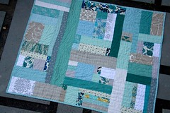 Sea Breeze Quilt (One Flew Over...) Tags: modern liberty linen quilting patchwork kona bespoke babyquilt screenprinted inkandspindle