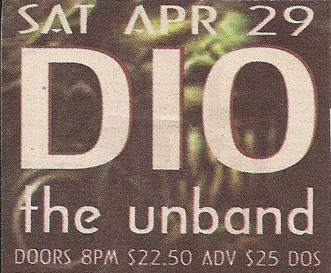 04/29/00 Dio/The Unband @ Irving Plaza, NYC, NY