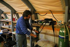 Inside the medical tent at WAIS Divide