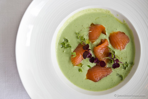 Cold Cucumber and Yogurt Soup, Smoked Salmon and Sprouts
