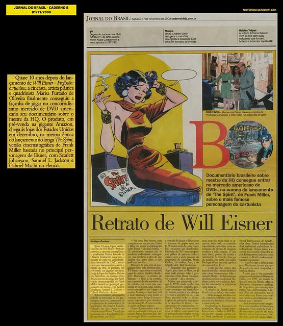 """""""Retrato de Will Eisner"""" - Jornal do Brasil - 01/11/2008"""