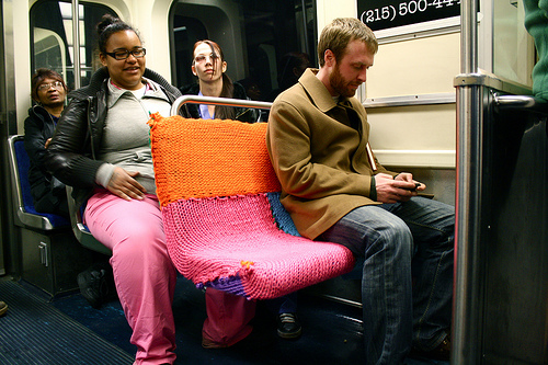 yarn bombing subway