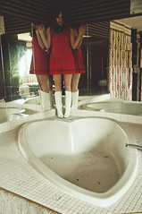 (yyellowbird) Tags: abandoned girl hotel illinois heart shaped mirrors jacuzzi bathtub cari