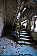 Hotel Stairway (Livexplore) Tags: city school urban abandoned rotting hotel fairground decay rusty radiation nuclear ring explore disaster sarcophagus radioactive boxing administration derelict crusty chernobyl urbex pripyat