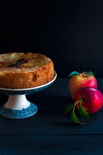 Apple cake with butterscotch vanilla syrup