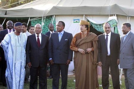 African leaders including South African President Jacob Zuma and Congo-Brazzaville leader Denis Sassou Nguesso, meets with Libyan revolutionary leader Muammar Gaddafi. Libya has agreed to an AU peace plan. by Pan-African News Wire File Photos