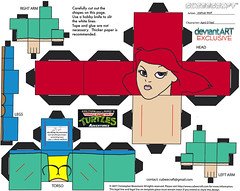 """Teenage Mutant Ninja Turtles Adventures"" -  April O'Neil papercraft model figure  [[  CUBEECRAFT  model by Joshua Wolf  ]]"