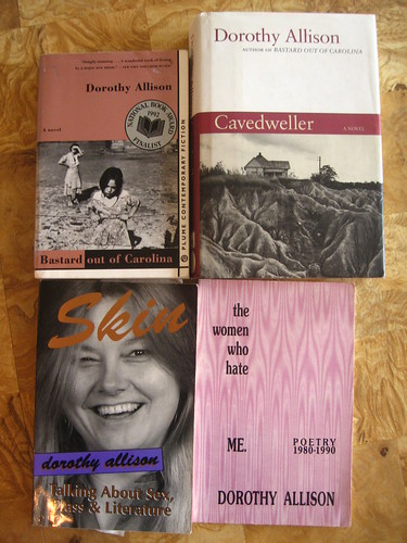 Dorothy Allison books from the Bitch Media Community Lending Library and my personal collection