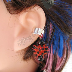 Red and Black Spike Cartilage Ear Cuff