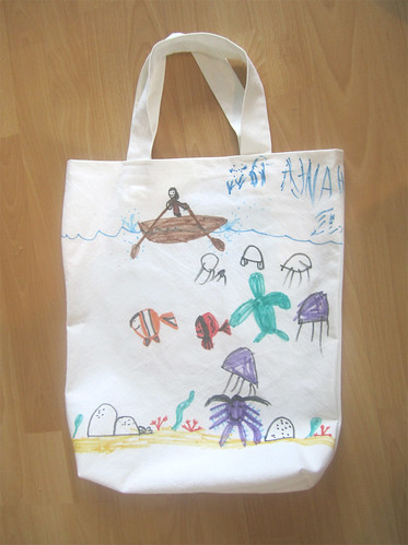 Hannah's homemade re-usable bag, side A
