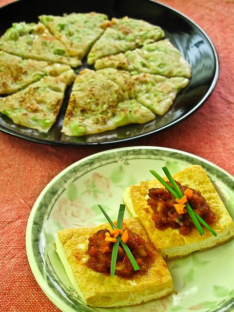 IMG_2233 Lunch 午餐 : 豆腐和辣豆瓣酱 ,面粉煎四季豆和碎粒胡萝卜
