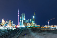 City Place (Mute*) Tags: city toronto building skyline night construction cntower nightshot crane tracks rail condos canonef1740mmf4lusm cityplace