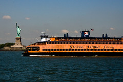 Staten Island Ferry Passing Statue of Liberty (alexmerwin13) Tags: city nyc newyorkcity summer urban usa newyork nature water ferry outside outdoors publictransportation unitedstates manhattan transportation northamerica environment statueofliberty bodyofwater stantonislandferry brittanysweddingtrip