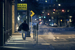 Park here (sparth) Tags: seattle park street city night dark lost washington downtown bokeh smoke homeless here 300mm april ville streetshot fumee parkhere 300mm28l 300mm28 5dmkii
