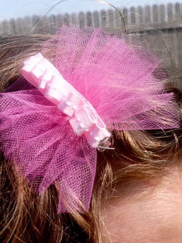 Daisy's fluffy tulle and grosgrain ribbon hairbow