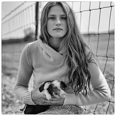 haylyn with pig (✪ patric shaw) Tags: film farmland piglet patricshaw haylyncohen