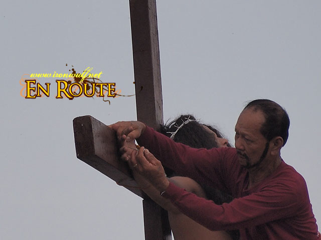 The actual nailing on the cross